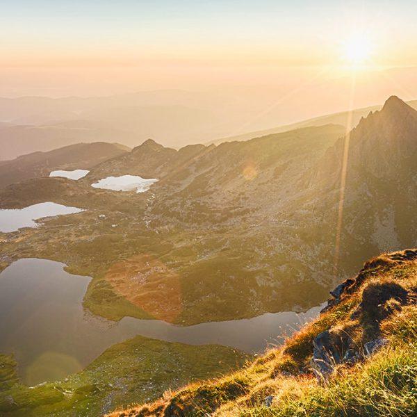 The famous Rila mountain lakes in Bulgaria by sunrise in the summer.